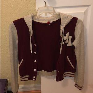 "Maroon and light grey/cream colored ""jock"" jacket"
